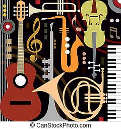 Abstrakte Musikinstrumente.