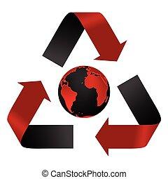 Abstrakte Verschmutzungsgefahr, Recyclinglogo und Globus