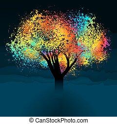 Abstrakter farbenfroher Baum. Mit Kopienraum. EPS 8
