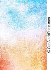 Abstrakter Hintergrund: blau, gelb und rote Muster auf weißem Hintergrund. Für Kunst, Grunge-Design und Altpapier / Grenzrahmen