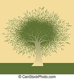 Abstrakter musikalischer Notenbaum.
