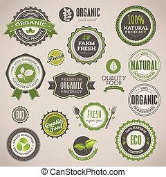 abzeichen, satz, organische , etiketten