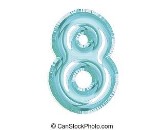 acht, glänzend, geburstag, dusche, baby, party, luft, vektor, blaues, zahl, balloon