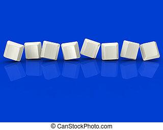 Acht leere Fliesen zeigen Hintergrund für 8 Buchstaben.