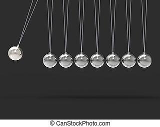 Acht silberne Newtonen wiegen Leerkugeln, Kopierraum für 8 Buchstaben.