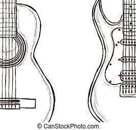 Acoustische und elektrische Gitarre.
