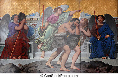 Adam und Eva, die Vertreibung aus dem Paradies.