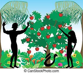 Adam und Eva Silhouettes
