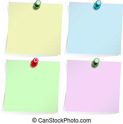 Adhesive Noten isoliert auf weiß