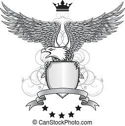 Adler mit Schild und Emblem