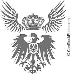Adlerschild mit Flügel und Krone