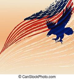 Adlersilhouette mit Usa-Flagge.