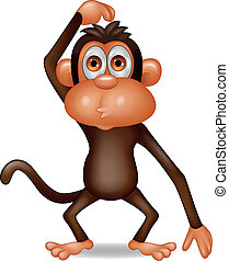 Affen-Cartoon denken.