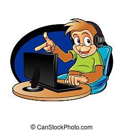 Affen-Cartoon mit Computer.