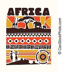 Afrika illustriert Tiere und Stammeskunst