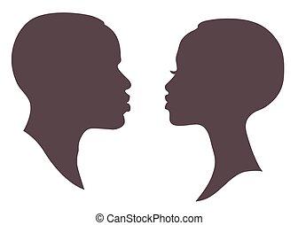 Afrikanerinnen und Männer stehen vor Silhouette