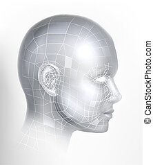ai, 3d, technologie, gesicht, cyber, technologie, digital, kopf