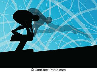 Aktive junge Schwimmer tauchen und schwimmen in Wassersport-Silhouetten vektor abstrakte Hintergrundbild.