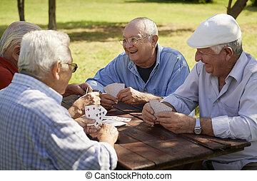 Aktive Senioren, alte Freunde spielen Karten im Park