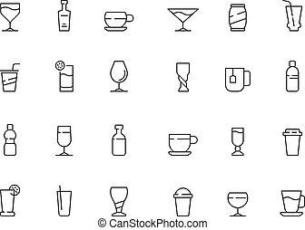 alkohol, heiß, tassen, soda, getrãnke, bohnenkaffee, tee, vektor, heiligenbilder, sammlung, brille, wasser, kalte , symbols.