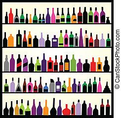 Alkoholflaschen an der Wand