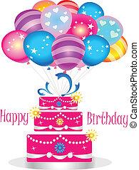 Alles Gute zum Geburtstagskuchen mit Ballons