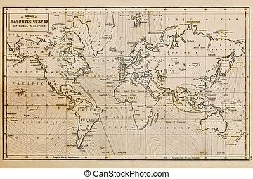 Alte Hand zeichnete alte Weltkarte