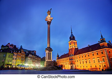 Alte Stadt in Warsaw, Poland in der Nacht
