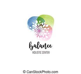 Alternative Medizin und Wellness, Yoga, Zen Meditation Konzept - Vektor Aquarell Icon, Logo.