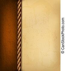 Altpapier und braunes Leder. Vektor Illustration.