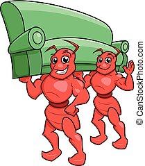 Ameisen tragen ein Sofa.