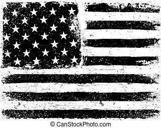 Amerikanische Flagge. Grunge aged Vektorvorlage. Horizontale Orientierung. Monochrom. Schwarz und weiß. Grunge-Schichten können leicht editierbar oder entfernt werden.