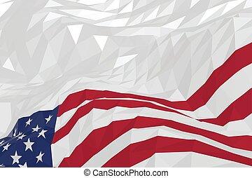 Amerikanische Flagge im Dreiecksstil.