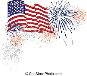 Amerikanische Flagge und Feuerwerk