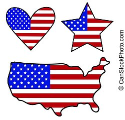 Amerikanische Flaggensymbole.
