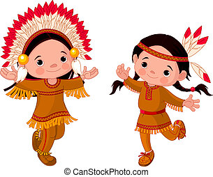 Amerikanische Indianer tanzen