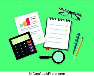 Analytische Planung von Daten auf der Tabelle Top-Ansicht, Audit-Evaluierungsprozess, Finanzrecherche mit Graphen, Analyse, Umfrage oder Checkliste im Vektor-Flach-Cartoon-Stil.
