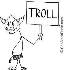 andere, karikatur, troll, kriege, internet, vektor, flamme, abbildung, virtuell, hater, benutzer, zeichen, besitz, angreifen