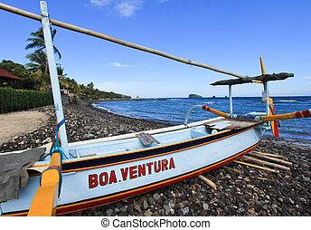 Angelboot in Fidschi.