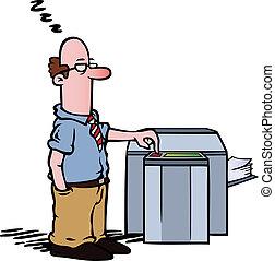 Angestellte am Kopierer