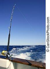 Angler-Boot-Fisch im Salzwasser