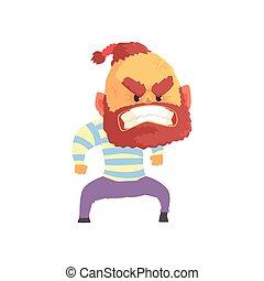 Angry aggressive bärtiger Mann Zeichentrickfilm-Vektor Illustration.