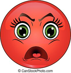 Angry Red Smiley Emoticon. Vector