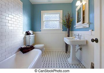 Antike Luxusdesign des blauen Badezimmers