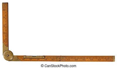 Antike Zimmermanns Boxwood-Kopplungsregel des 19. Jahrhunderts markierte Rabone mit Messing und Protraktor, isoliert auf weißem Weg, inklusive des Ausschnitts