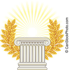 antikes , spalte, lorbeer, gold, griechischer