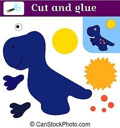 Anwendung mit einem Dinosaurier. Papierspiel. Drucken, schneiden und kleben. Blauer Tyrannosaurus und die Sonne. Einfache Freizeitgestaltung für Kinder. In der Schule und zu Hause. Kartoon süße Silhouette des lustigen Dino.