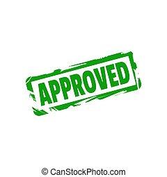 approved., genehmigt, vektor, zeichen, briefmarke, grafik