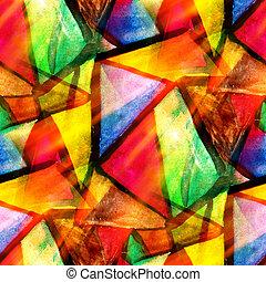 aquarell, dreieck, farbe, muster, abstrakt, seamless, beschaffenheit, wasser, farbe, gelber , design, papier, hintergrund, grün, kunst, rotes