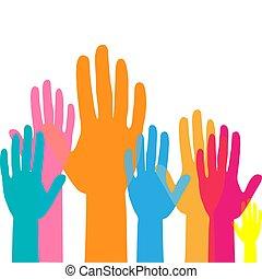 arbeit, auf, angehoben, begriff, mannschaft, hands., hände, bunte, volunteering.